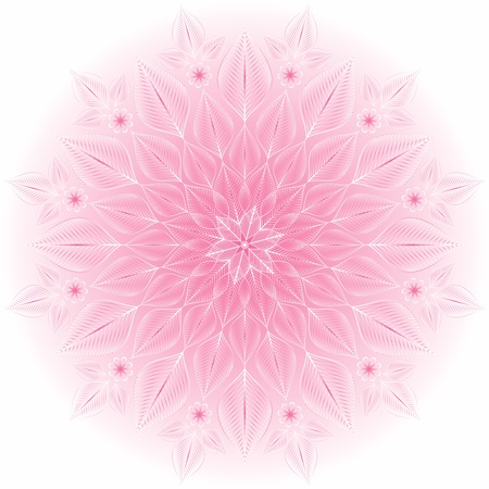 Gentle pink and white round floral frame (vector)