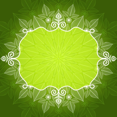 Green and white vivid vintage floral frame (vector EPS 10) Vector