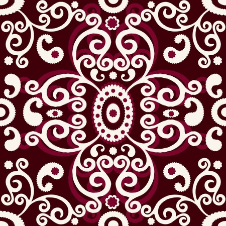 Dark brown seamless pattern with white vintage curls (vector) Vector