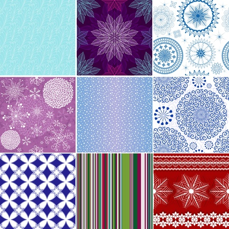 Collection seamless christmas colorful patterns (vector) Vector