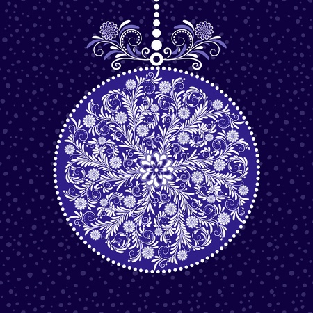 Xmas blue ball with round vintage floral pattern Vector