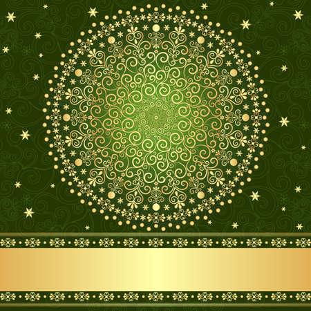 曼陀羅: グリーンとゴールド エレガンス フィリグリー ビンテージ フレーム