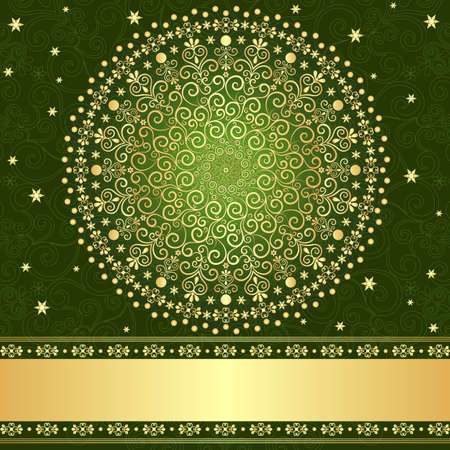 Green and gold elegance filigree vintage frame Vector