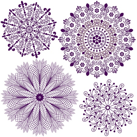 Collection new christmas dark violet snowflakes  isolated on white (vector) Illustration