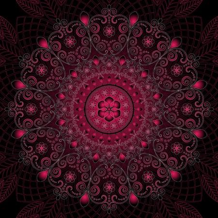 Dark purple round vintage floral pattern (vector) Stock Vector - 16137958