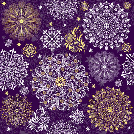 silvery: Christmas dark violet seamless pattern with white and gold vintage snowflakes (vector)
