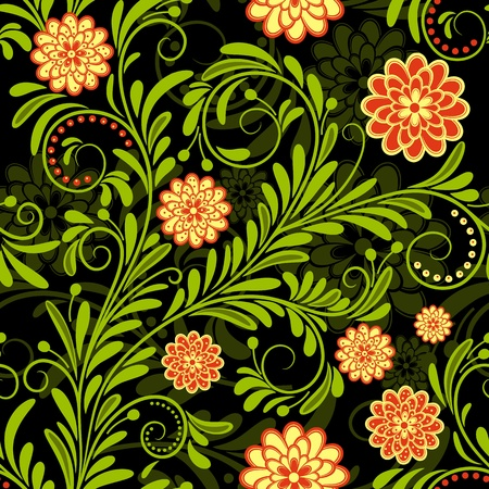 Black vintage seamless pattern with red and yellow flowers Vector