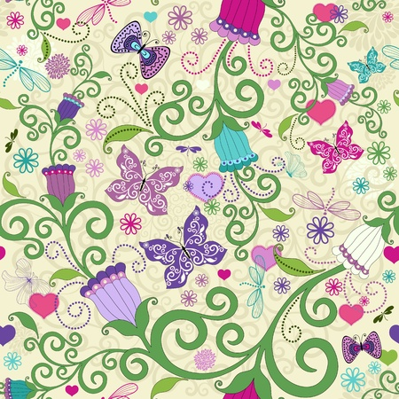 butterflies abstract: Seamless valentine pattern with colorful floral garland and butterflies and dragonflies and hearts  vector