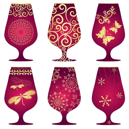 varied: Set of purple Christmas glasses with gold decorative pattern on white (vector)