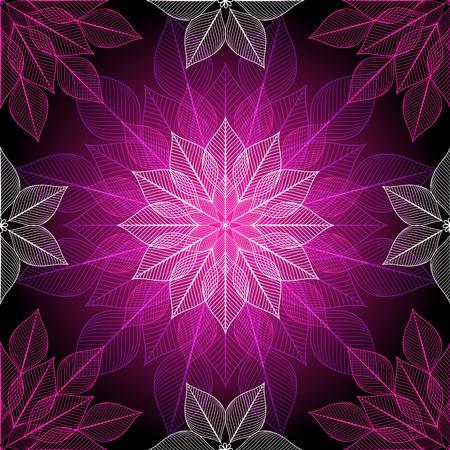 Dark violet seamless pattern with colorful translucent lotus Illustration