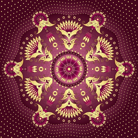 Decorative gold-purple round frame with vintage patterns  Vector