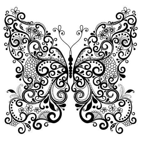 filigree: Decoratieve fantasie kanten vintage vlinder op wit wordt geïsoleerd