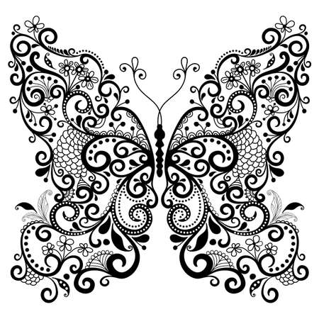 farfalla tatuaggio: Decorativo farfalla fantasia pizzo d'epoca isolato su bianco Vettoriali
