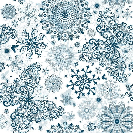 Christmas white seamless pattern with calligraphy vintage snowflakes and butterflies Vector