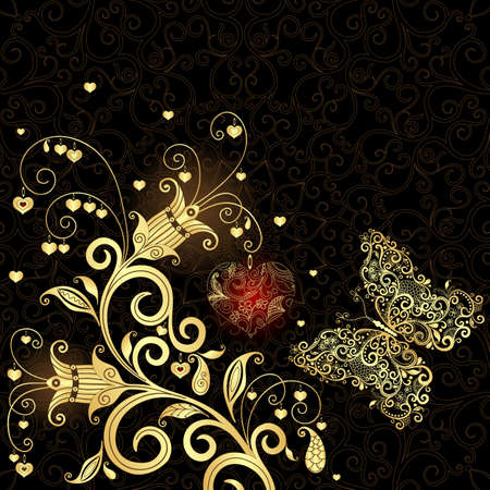 arabesque: Vintage frame San Valentino d'oro fiore e farfalla Vettoriali