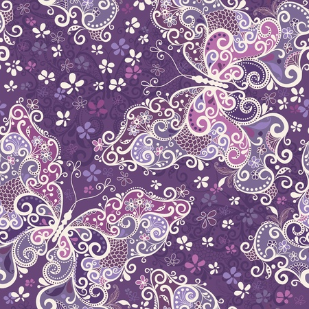 purple swirls: Seamless motley pattern with big butterflies and flowers