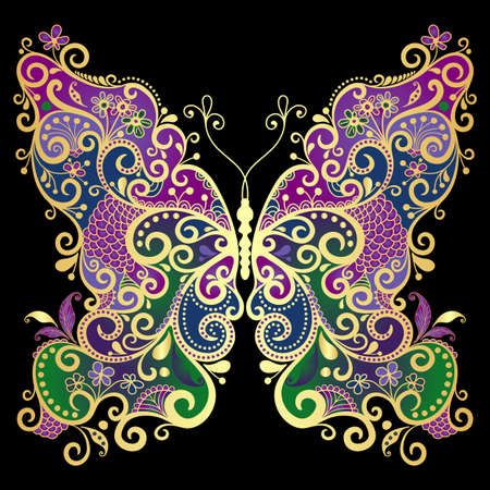 fluttering: Decorative fantasy gold and colorful vintage butterfly on black
