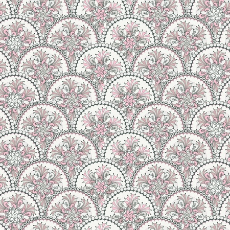 lace filigree: Gentle  pastel vintage seamless pattern with circles  vector  Illustration