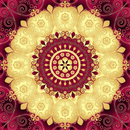 Purple and gold round vintage floral pattern Vector