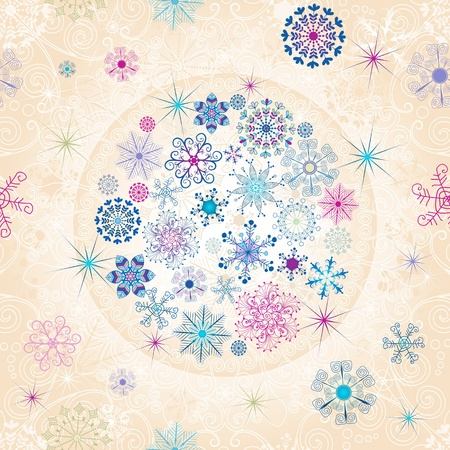 Christmas seamless pattern with colorful ball and lacy snowflakes (vector) Vector