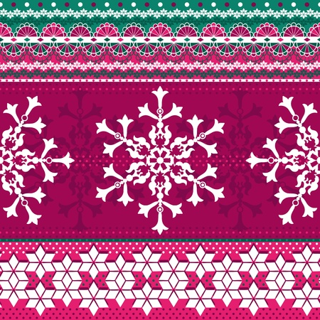 Christmas red and green seamless pattern with strips and snowflakes (vector) Vector