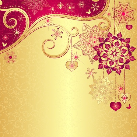 Christmas gold background with gold and red snowflakes Vector