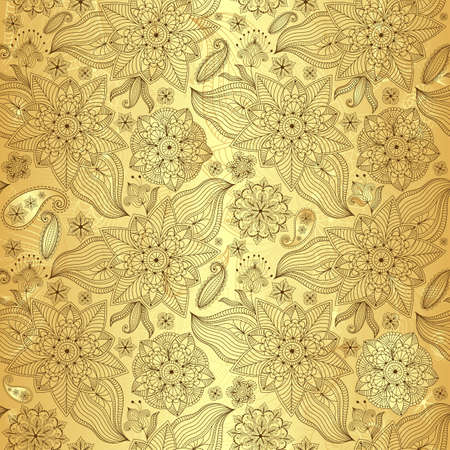 persian: Gold lacy seamless pattern with vintage flowers and paisley (vector)