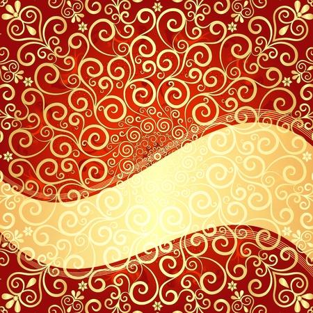 arabesque wallpaper: Rosso e oro, modello di eleganza vintage con cornice dorata