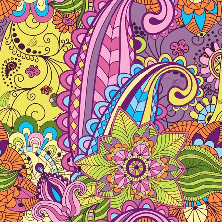 paisley background: Seamless vivid colorful floral pattern Illustration
