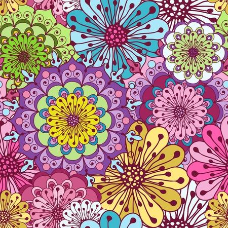 曼陀羅: 色とりどりの花でシームレスな鮮やかな花柄