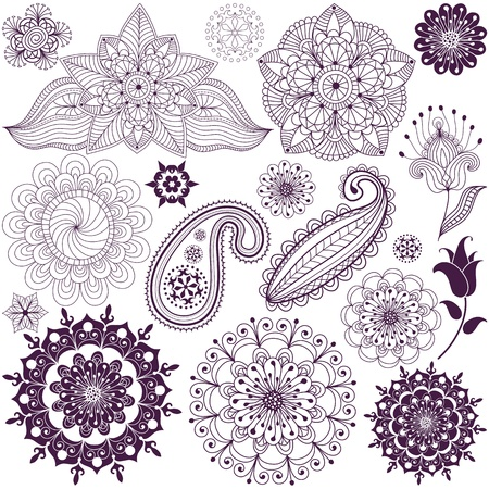 motif floral: Set monochromatic design elements  isolated on white (vector) Illustration