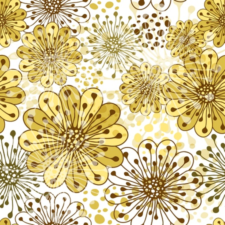 carve: White seamless floral pattern with carved flowers and spots (vector EPS 10) Illustration