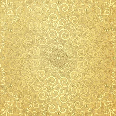 Old yellow paper with round gold lacy pattern photo