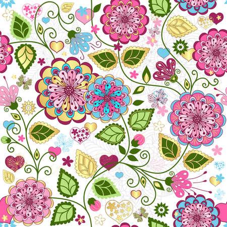 disegno cachemire: Seamless pattern di San Valentino con fiori colorati e farfalle e cuori