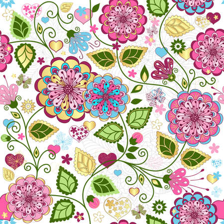 Seamless valentine pattern with colorful flowers and butterflies and hearts
