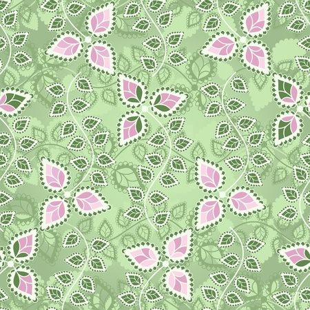 Pastel seamless floral pattern with branch and pink flowers Stock Vector - 16470649
