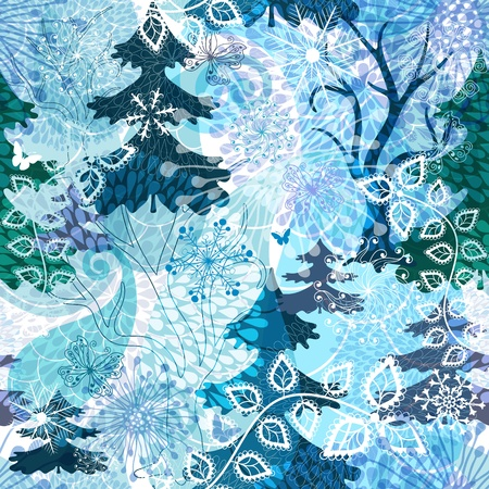Winter seamless  pattern with stylization transparent snowflakes, trees and butterflies  Vector
