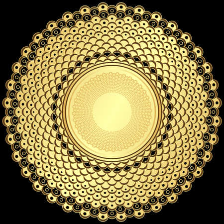 Decorative gold and brown round vintage frame  on black  Vector