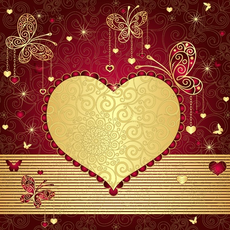 Vintage gold-red valentine background with gold heart and butterflies