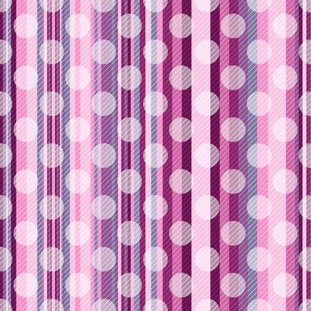 sfondo strisce: Seamless pattern a strisce rosa con strisce diagonali e traslucide puntini bianchi polka Vettoriali