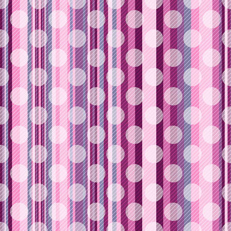 Seamless striped pink pattern with diagonal strips and  translucent white polka dots  Vector