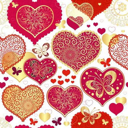 Seamless valentine pattern with red and gold hearts and butterflies