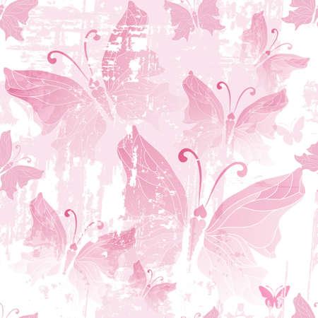Seamless pink grunge pattern with translucent butterflies