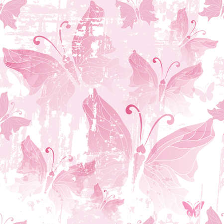 Seamless pink grunge pattern with translucent butterflies  Vector