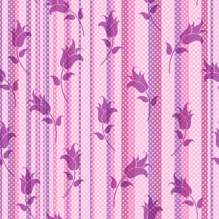 lowers: Seamless gentle striped pattern with translucent white polka dots and violet lowers Illustration