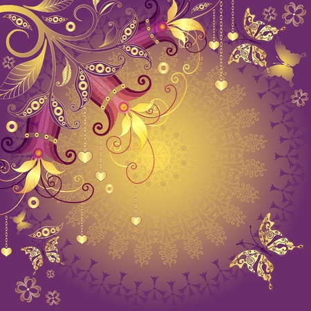 Gold-violet-red valentine vintage frame with gold hearts, flowers and butterflies Vector