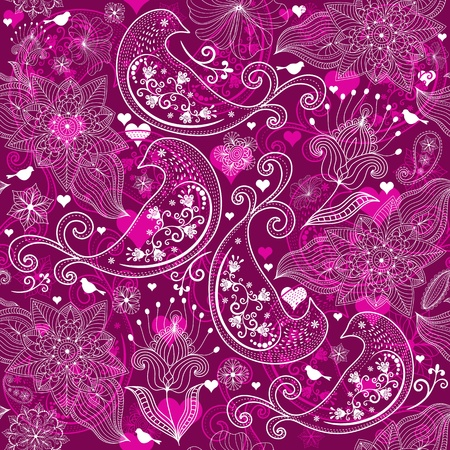 Seamless vinous valentine pattern with stylized birds and flowers