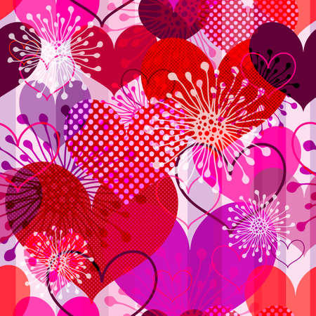 Seamless valentine striped pattern with colorful transparent hearts and flowers  Vector