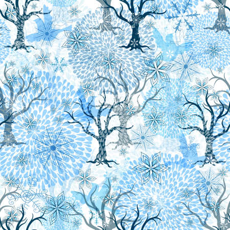 Winter seamless pattern with stylization transparent fireworks, trees, snowflakes and birds  Vector