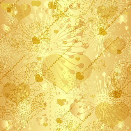 motley: Seamless gold valentine vintage pattern with transparent hearts